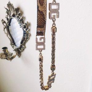 Auth. Dolce & Gabbana RARE Python & Swarovski Belt